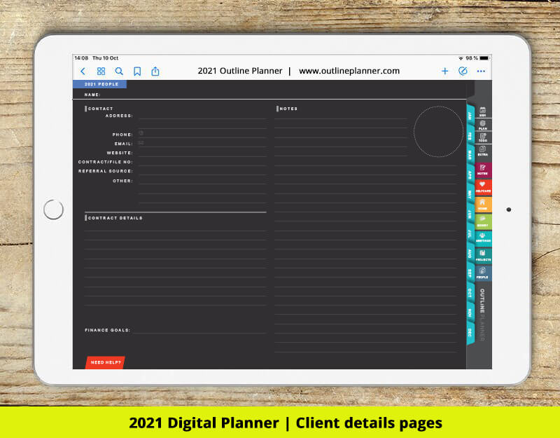 Clients page - 2021 digital planner
