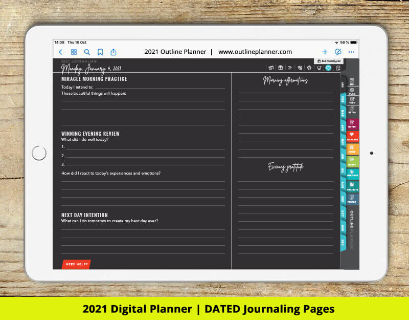 2021 digital planner journaling