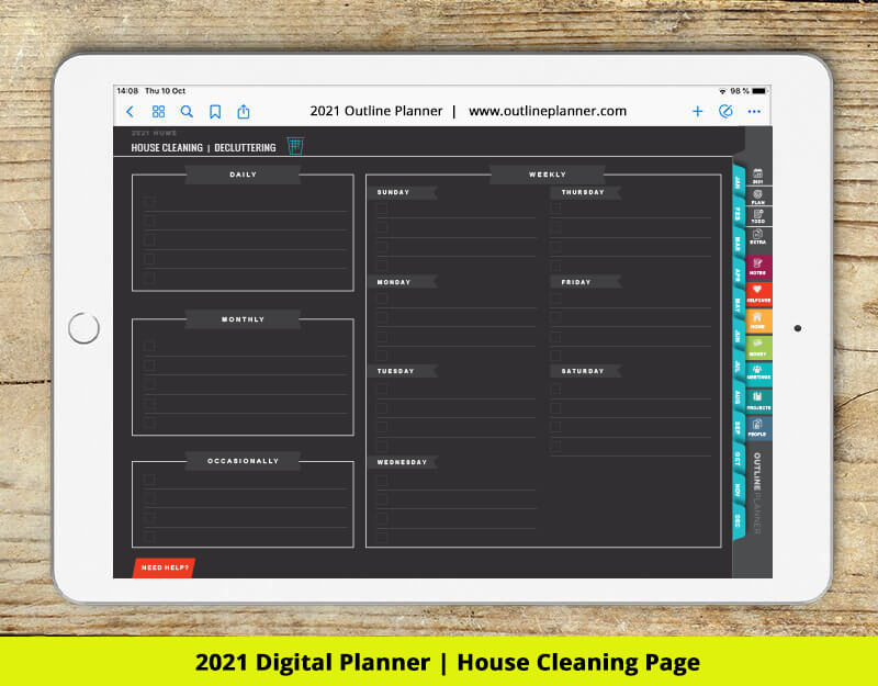 House cleaning template goodnotes