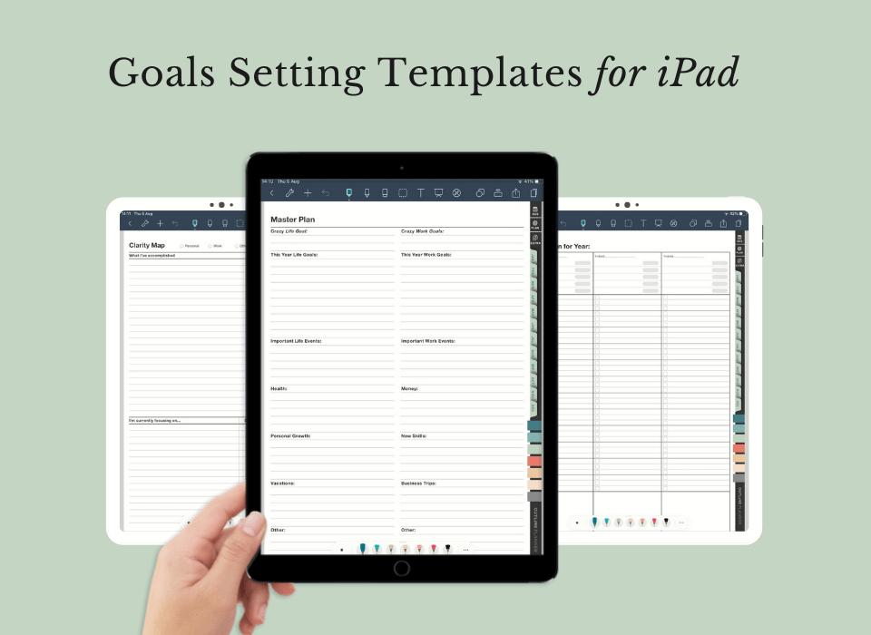 digital planner for goals setting template - digital planner for iPad - goodnotes planner