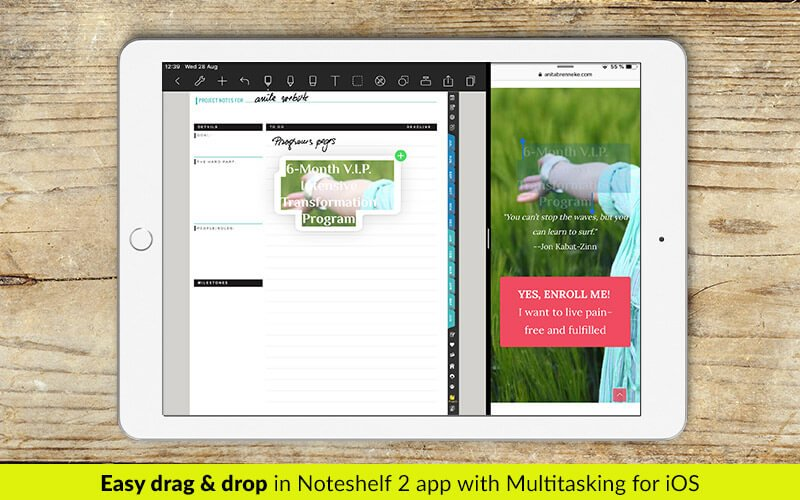 Split view - multitasking - drag and drop in Noteshelf 2 app - digital planners for iPad - business planners - students planner