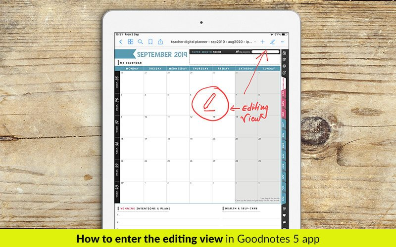 Digital planner for Goodnotes. How to enter the editing view in Goodnotes 5.