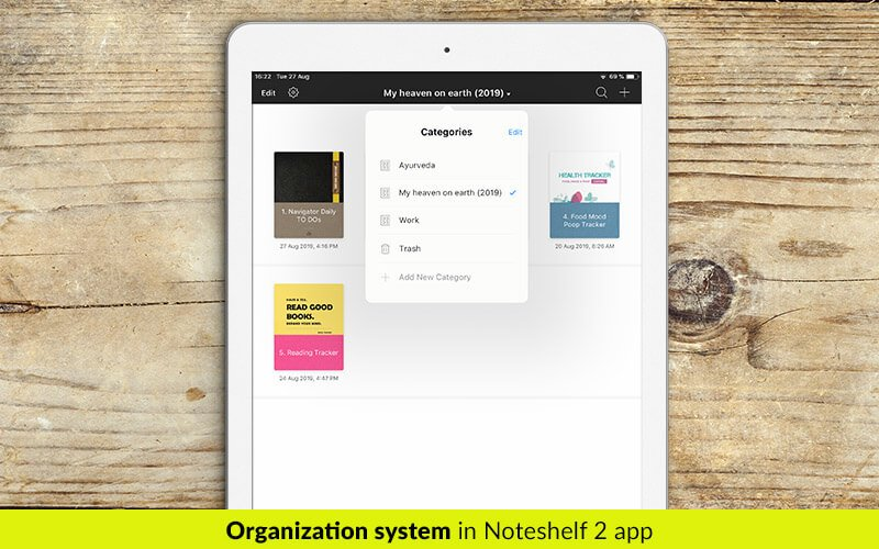 Categories and groups organizing system in Noteshelf 2 app - digital planners for iPad - business planners - students planner