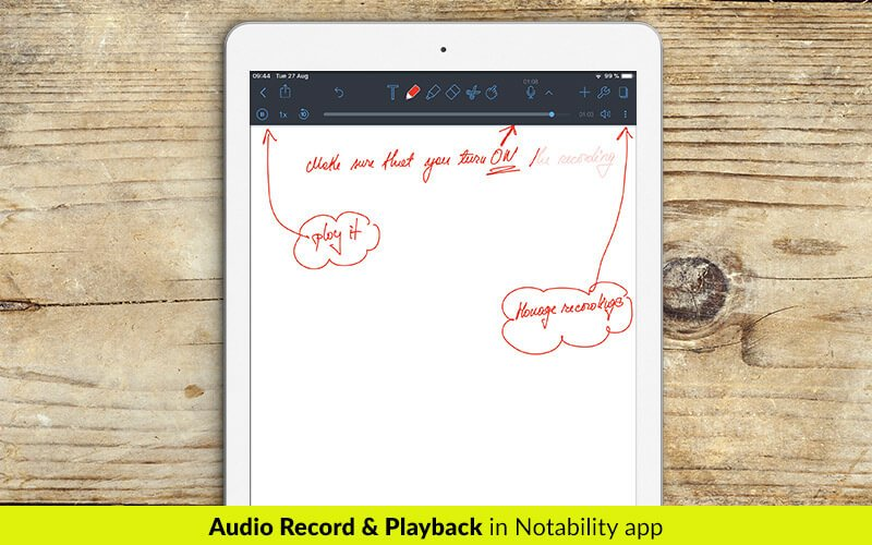 Audio record and playback in Notability app