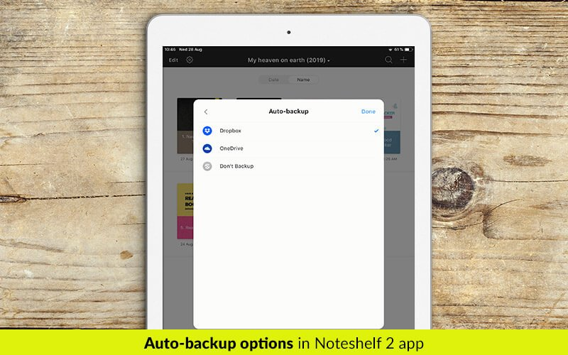 Auto backup and sync in Noteshelf 2 app - digital planners for iPad - business planners - students planner