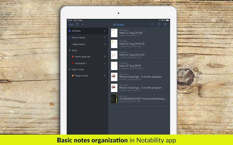 Basic notes organization in Notability app