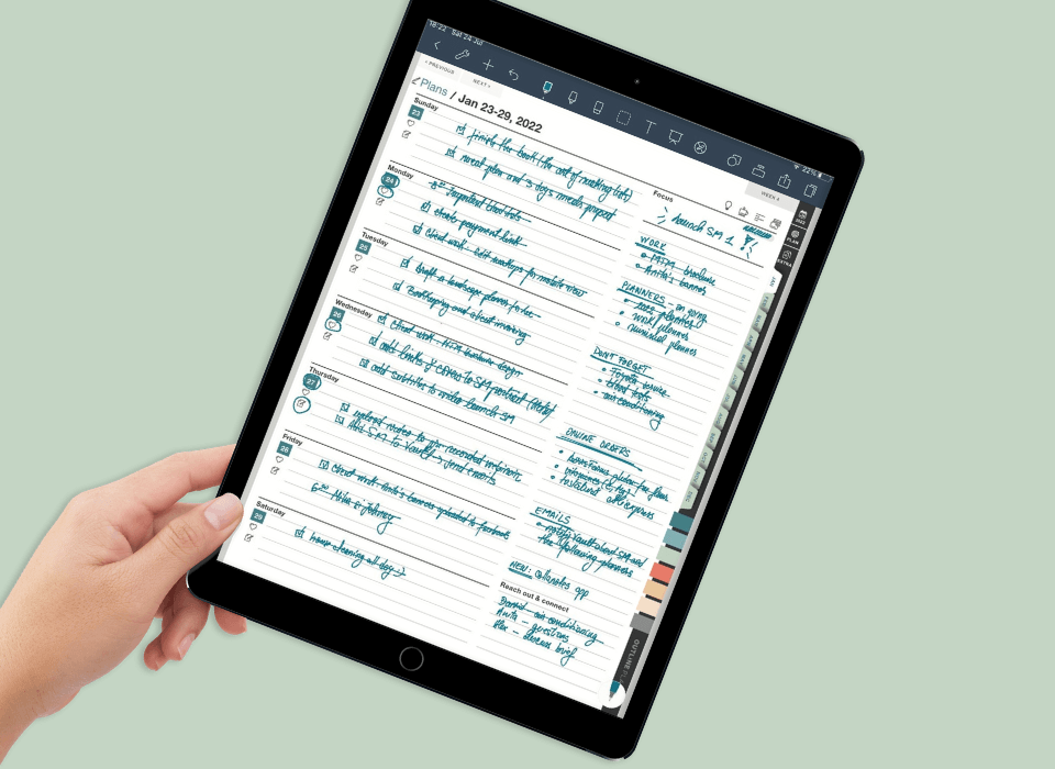 weekly digital planner for goodnotes