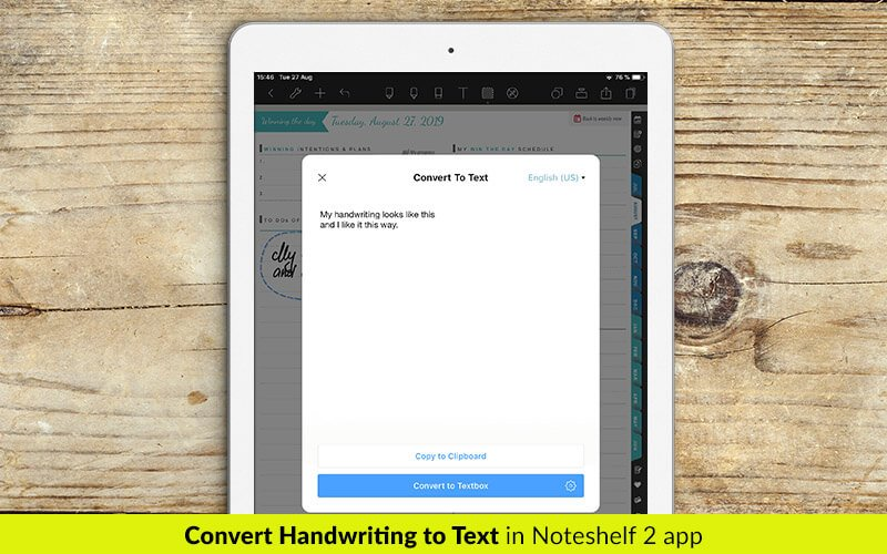 Convert handwriting to text in Noteshelf 2 app - digital planners for iPad - business planners - students planner
