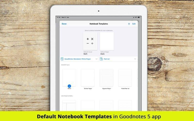goodnotes 5 default digital templates