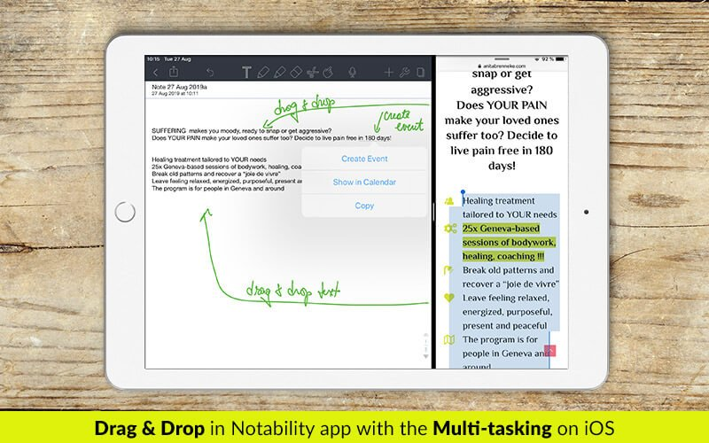 Drag and drop text in Notability app