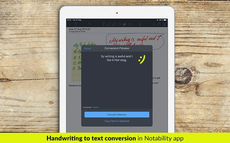 Handwriting to text conversion in Notability app