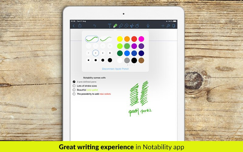 Ink experience in Notability app