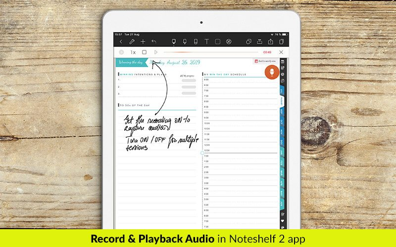 Record and playback audio in Noteshelf 2 app - digital planners for iPad - business planners - students planner