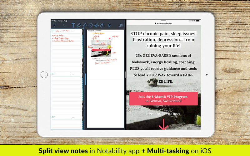 split view notes and multitasking in Notability app