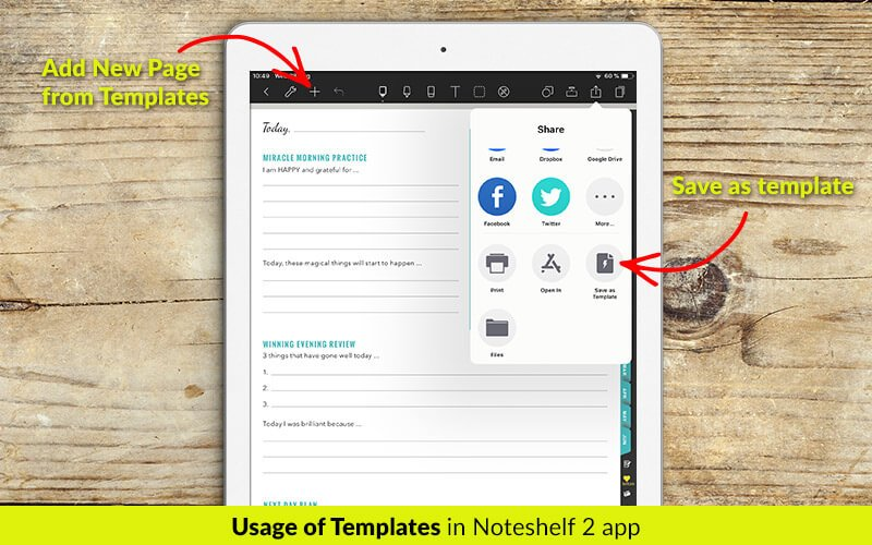 Templates in Noteshelf 2 app - digital planners for iPad - business planners - students planner