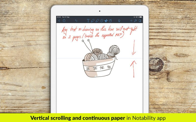 Vertical scrolling and continuous paper in Notability app